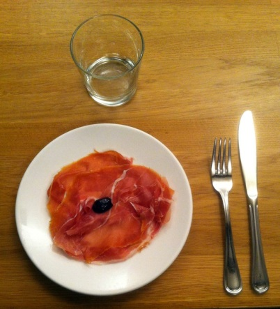 """Elaine Tin Nyo and Lynn Bound, """"The Portrait"""" (2013). Prosciutto di Parma and olive (photo by Thomas Micchelli)"""